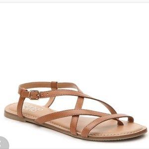 Franco Sarto Tan Strappy Flat Sandal